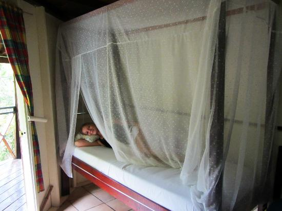 Hibiscus Valley Inn: Bed with mosquito net