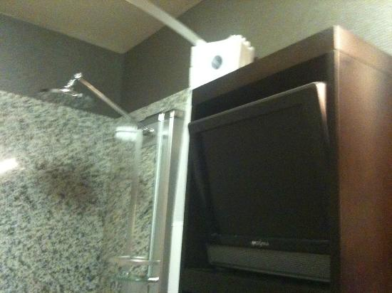 Acclaim Hotel Calgary Airport: They even had a TV in the bathroom -- and it was awesome! My husband was very happy