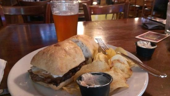 Captain Benders Tavern : Ribeye sandwich, chips, and French Onion dip
