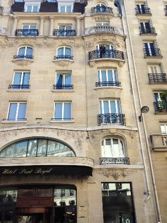 Hotel Pont Royal: The front of the hotel w/daughter on our balcony