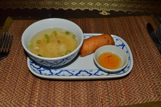 Royal Orchid: Wonton soup w/egg roll