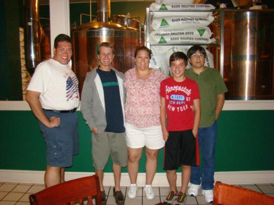 Coddington Brewing CO: Hubby, Cousin, Me, my son, Bro-in-law standing in front of the Brewing room at Coddington Brewer