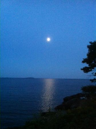 Beloin's on the Maine Coast: Moon over Penobscot Bay, from our room!