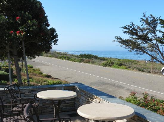 Fireside Inn on Moonstone Beach: View from patio of fireplace suite to coastline.