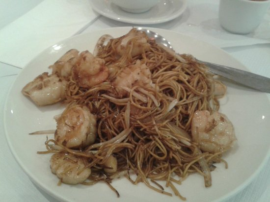 New Loon Fung : Fried Soft Sea Food Noodles close up