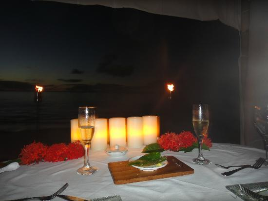 Pacific Resort Aitutaki: Private Dining on the beach