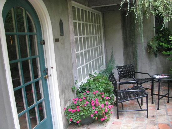 The Charlie: our courtyard with curved door