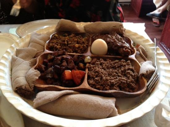 Lalibela Restaurant: Another kind of Meat Combination. There are beef, lamb, chicken and Lamb inners