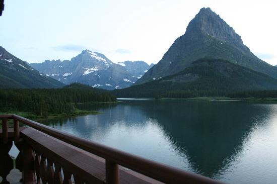 Many Glacier Lodge: View from balcony of Many Glacier