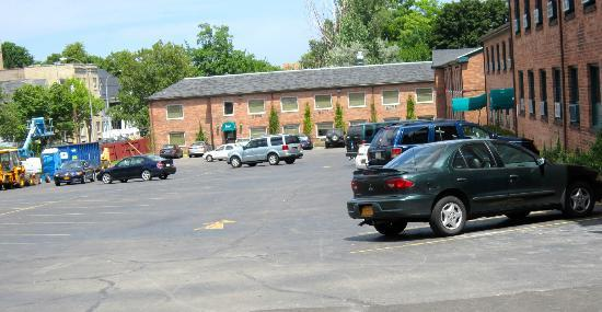 The East Avenue Inn & Suites: Parking lot, one of first buildings to be completed