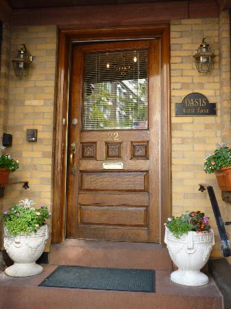 Classic doorway of the Oasis Guest House at 22 Edgerly Rd, Boston, MA