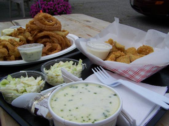 Bath, ME: Whole belly clams with onion rings and cole slaw, fried pickles, and haddock chowder! YUM!