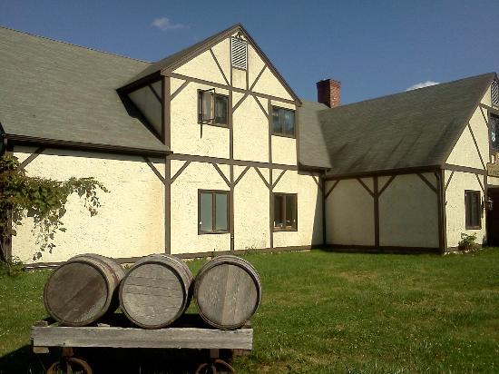 Litchfield, CT: Barrels in front of the Building