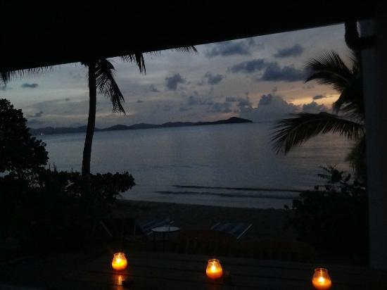 Mango Bay Resort: Nightfall on our patio.