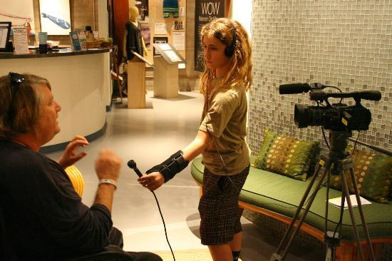 California Surf Museum: Young student interviews an author during a book signing at CSM