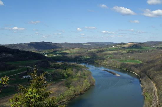Wyalusing, PA: Beautiful farmland seen looking upriver toward Wysox.