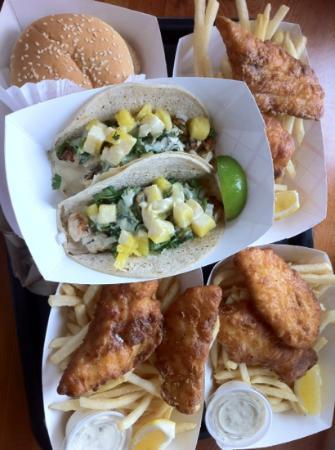 BJ's  Burgers and Tacos: burger, fish and chips, and chicken tacos.