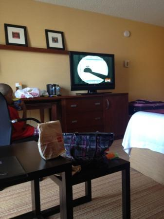 Courtyard by Marriott Milpitas Silicon Valley: TV with mini fridge in cabinet