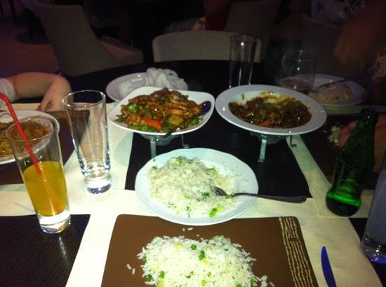 Imperial Chinese Restaurant: black pepper chicken and beef with green pepper and black bean sauce and onion rice