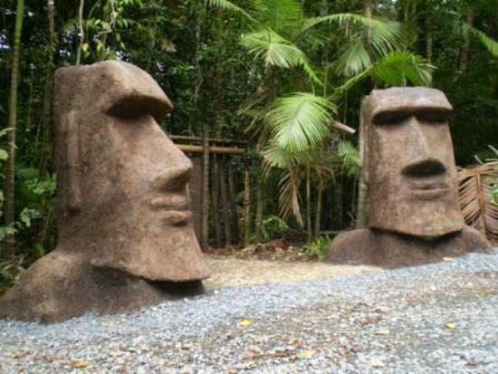 Some of the sculptures around Rainforest Hideaway