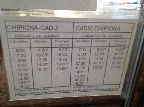 Chipiona Inturjoven Youth Hostel: bus schedule! so hard to find