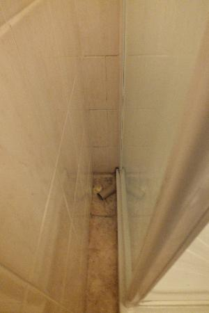 Stratford Hotel: Empty toilet roll and used toilet paper on the floor