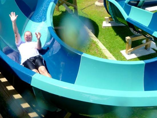 Shipwreck Island Waterpark: Grown up on a slide in the tween area. Fun in this area for all.
