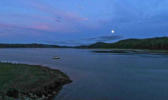 Machias River Inn: Full moon over river.