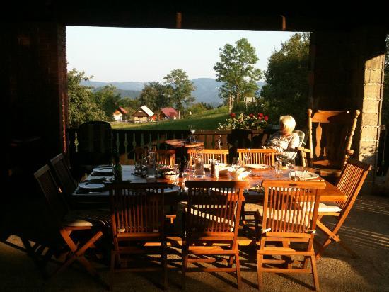 Pri Lenart Hotel: Outdoor dining in the barn