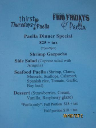 La Buena Vida Vineyards : Paella Night menu