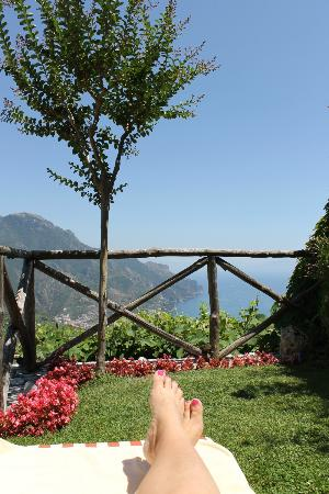 Palazzo Avino: view from poolside chaises