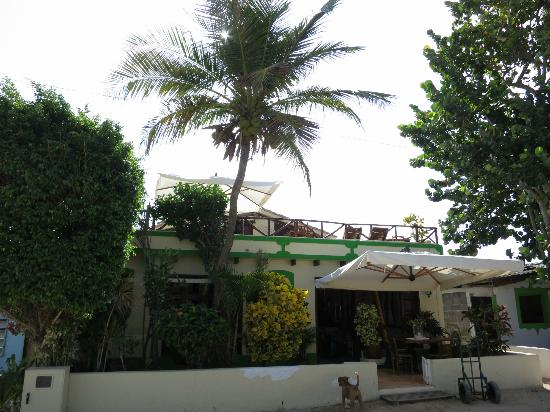 Posada El Pelicano: Front of the hotel with rooftop where dinner is served