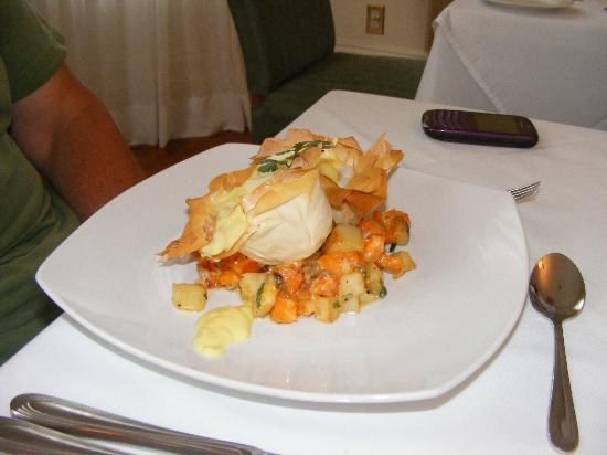Duggan Place: Laura's egg blossoms, with phyllo, sweet potatoes, potatoes, and spices.