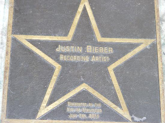 "Stratford, Canada: Justin Bieber's star near the steps where he ""buskered"": sang and collected tips."