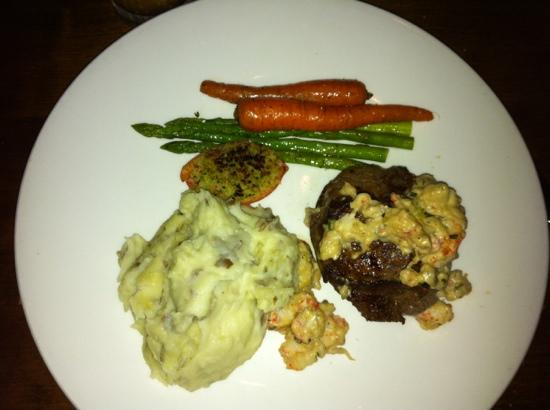Chop Steakhouse & Bar: AAA Baseball sirloin with mashed potatoes and vegetables