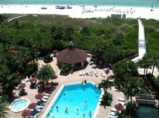 The Charter Club of Marco Beach: view from 9th floor of pool/beach