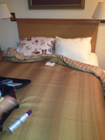Candlewood Suites Tyler : This is what they assured me was their biggest bed, and called it a queen. I purposely took thi