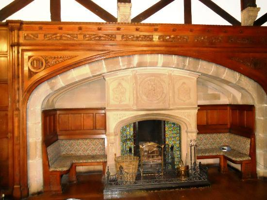 Whalley Abbey: A massive fireplace in the function room.