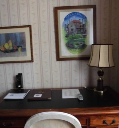 Hotel Park Villa: Desk in the single room