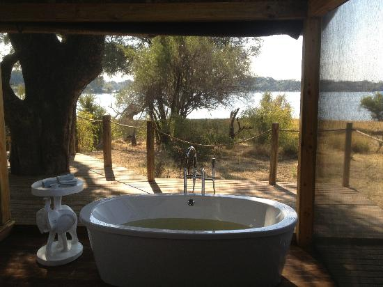 Victoria Falls River Lodge - Zambezi Crescent: View from the bath