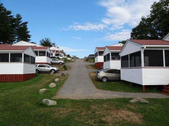 Belle of Maine: View of the cottages with screened-in porches