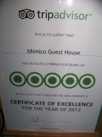 Monico Guest House : Tripadvisor certificate of exellence for 2012