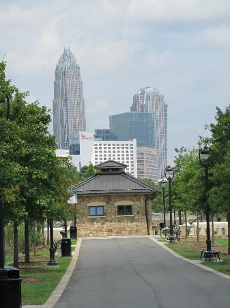 Little Sugar Creek Greenway: View of Charlotte Uptown from the Greenway Path