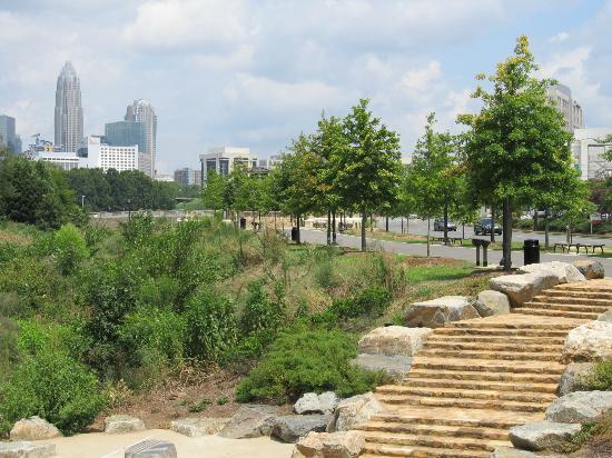 Little Sugar Creek Greenway: Wild area to the left and a view of Charlotte also