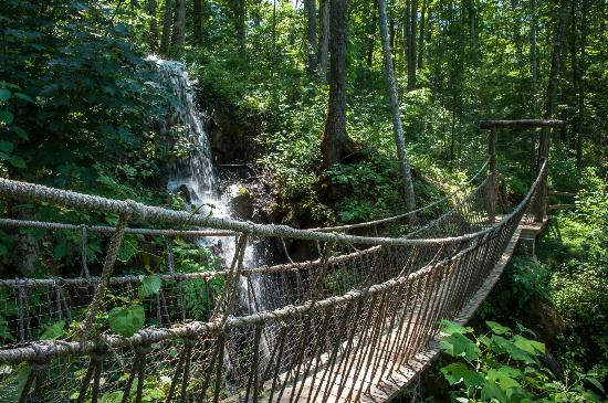 Rope Bridge Over Waterfalls Picture Of Foxfire Mountain