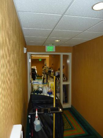 Homewood Suites by Hilton Palm Desert: Maid Cart Maze in Hallway- No room for walking let alone wheelchairs