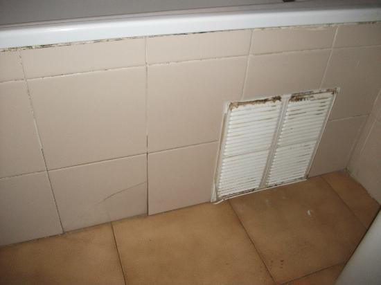 Evamar Apartments: Cracked tiles and water leaks out from bath.
