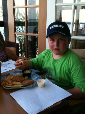 Baja Chowder and Seafood: big guy enjoying lunch