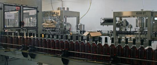 Duplin Winery: Wine labeling/bottling area