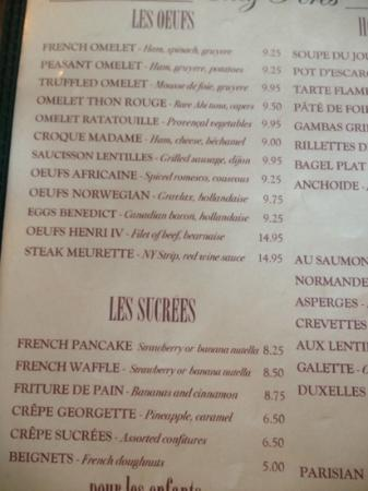 Patisserie Amie: partial menu
